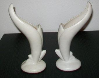 Pair of Van Briggle Bird of Paradise Vases - Moonstone