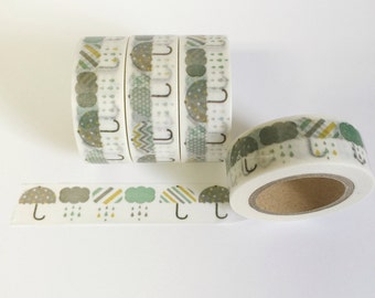 Washi Tape Umbrella Washi Tape Green Umbrellas And Rain Clouds Decorative Tape 15mm / 10 Yards