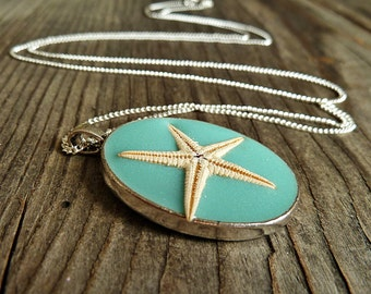 925 silver chain starfish necklace