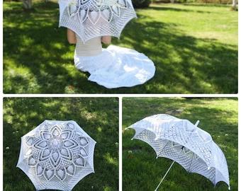 Wedding umbrella Crochet umbrella White lace umbrella Wedding Knitted Parasol Wedding accessories Photo session umbrella Bridal accessories