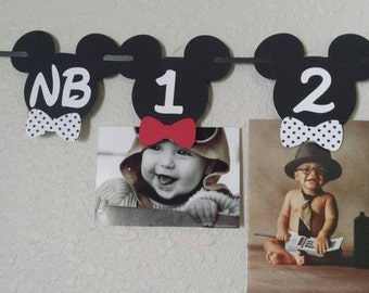Mickey Mouse Photo Banner, Mickey Mouse Bow Tie Banner, Mickey Mouse Age Banner, Mickey Mouse Birthday Banner, Mickey & Minnie, Mickey Party