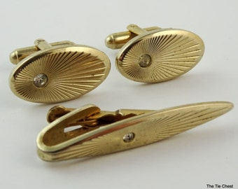 Vintage Cufflinks and Tie Clip Set Gold Tone Sunray Rhinestone Oval Cuff Links