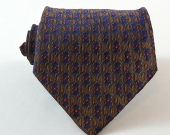 Vintage Tie Shimmery Gold Blue Wash N Wear Terry by Currie Necktie
