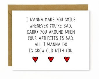Cute Anniversary Card / Love Card / Birthday Card / Wedding Singer - Grow Old With You