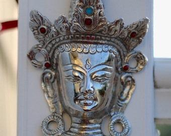 Silver Buddha In Metal Wall Hanging