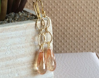Peach Champagne Earrings, Long Dangle Earrings, Drop Gold Earrings, Champagne Wedding Bridal Earrings, Cubic Zirconia Earrings