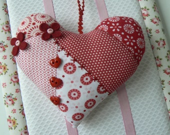Tilda fabric hanging heart  patchwork heart  fabric christmas decoration handmade