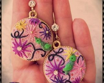 Handmade Polymer Clay Birds and Flowers Earrings