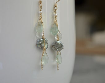 Sea green dangly earrings with keshi pearl and green amethyst