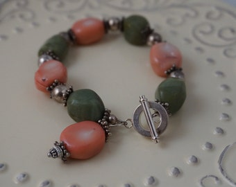 Green and Pink Stone Bracelet