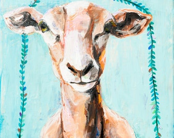 Aqua Sheep. Limited Edition Giclee Print, 8x8