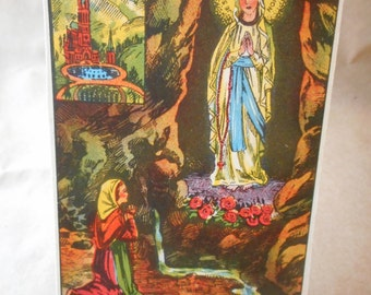 1930's Notre Dame de LOURDES, Collectible Vintage Holy card, Our Lady of LOURDES, Catholic Saint Cards, Holy Prayer Cards, Non Sports Card