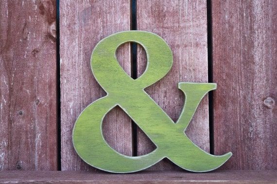 Rustic ampersand home decor shabby chic cottage for Ampersand decoration etsy