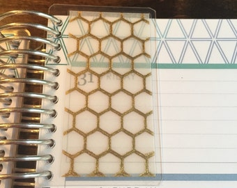 Honeycomb Gold Foil Vellum Page Markers for Erin Condren Life Planner and Plum Planner