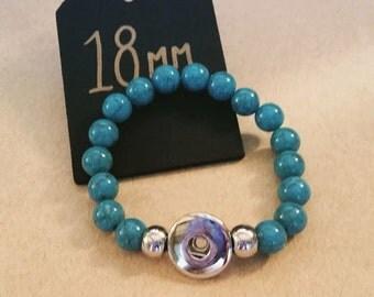 18mm  Turquoise Bead Bracelet - Interchangeable Snap Jewellery