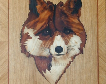 Original red Wooden cute fox animal art marquetry inlay handmade unique home decor picture wall hanginng woodwork by Andulino