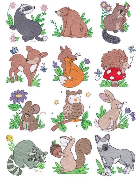 Woodland animals filled stitch machine embroidery designs