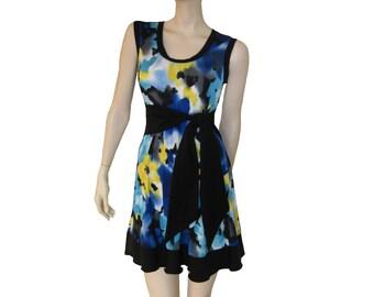 """Short dress """"Summer"""", sleeveless dress, printed summer dress, flare dress."""