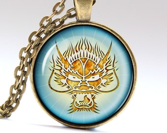 Dragon amulet Chinese necklace Monster pendant LG054