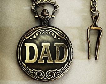 """Men's Father's Day """"Dad"""" Pocket Watch Vintage Inspired Bronze plated with chain clasp for Men's Waistcoat."""
