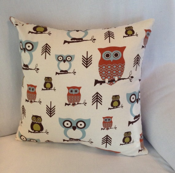 Owl Throw Pillow Covers : Who's Who 14x14 Novelty Owl Pillow Cover by TurtleAndTreadle