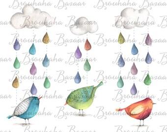 Birds in the rain