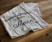Custom French Vintage Flour Sack Tea Towel, Bar Mop, Naepoleonic, Victorian, Personalized, Address, Gift, Wedding, Decor, House Warming