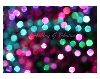 Photography, pink and teal Bokeh print