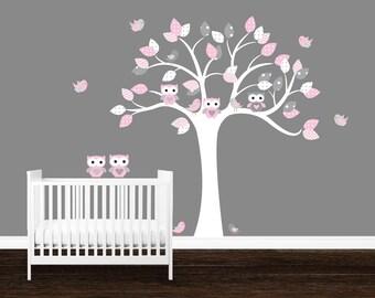 Girls Owl Wall Decal, Kids Nursery decal, Owl tree wall art, Birds wall decal, Nursery wall art, Tree Wall Decal