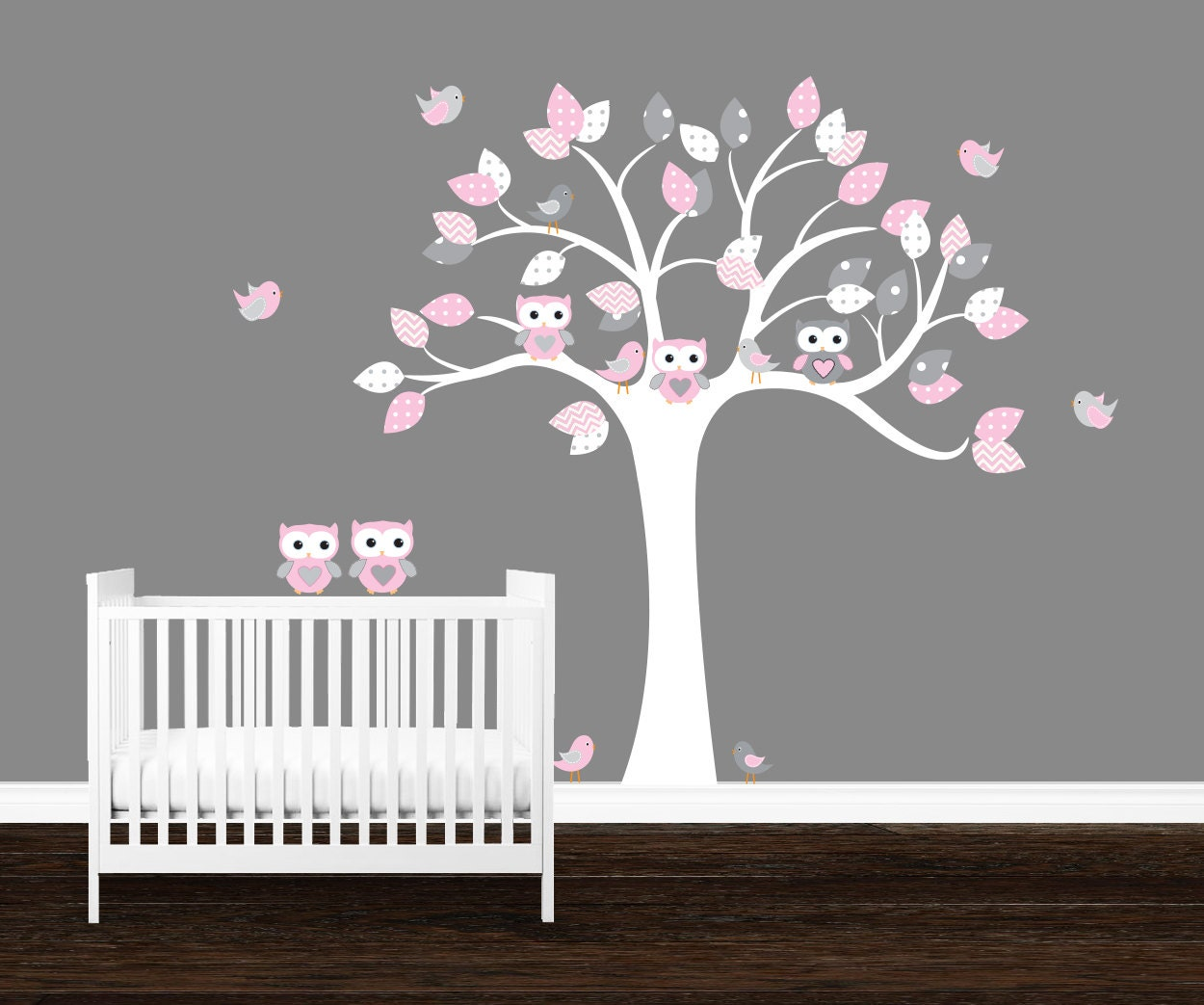 girls owl wall decal kids nursery decal owl tree wall art. Black Bedroom Furniture Sets. Home Design Ideas