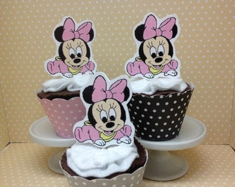 Baby Minnie Mouse Party or Baby Shower Cupcake Topper Decorations - Set of 10