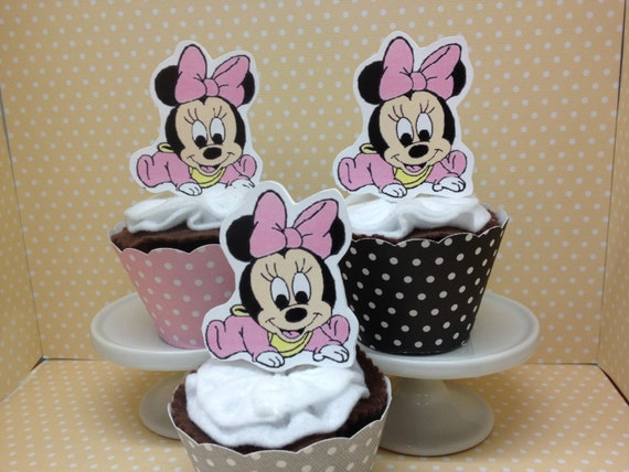 baby minnie mouse party or baby shower cupcake topper decorations