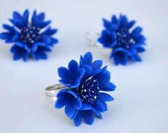 Bluet jewelry earrings ring . Bluebottle jewelry earrings ring. Cornflower jewelry earrings ring. Blue set. Wildflowers. Blue jewelry.
