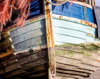 """Nautical photography, Weathered fishing boat, Beach Decor, Boat Detail, Peeling Paint, Nautical Print, Fine Art Photography, """"Out Of Water"""""""