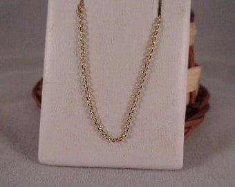 14K Solid Yellow Gold Cable Chain
