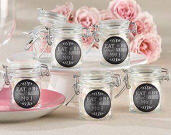Personalized Glass Favor Jars - Eat, Drink & Be Married (Set of 24)