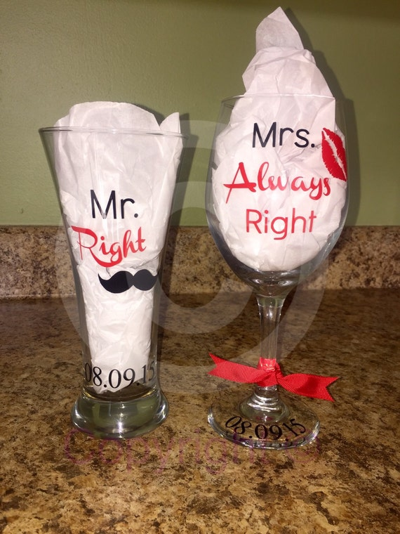 Mrs Always Right Collection Review: Mr. Right & Mrs. Always Right Wine Glass And Pilsner Set W/