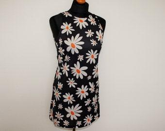 Daisy Dress Floral Print mini Dress Sleeveless Tunic Dress Daisy Print Blouse Mini Dress Boho Hippie Top  Feminine  Tank top  Medium Size