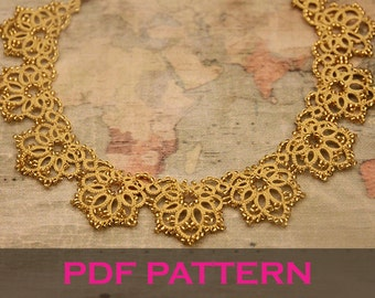 Tatting lace necklace pdf pattern (Royal Sunrise)