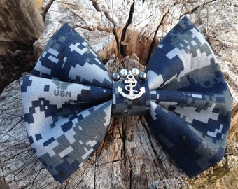 Navy Bow with Anchor Charm