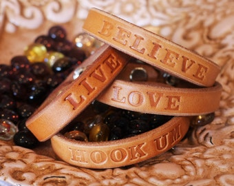 Leather Inspirational Word Bracelets