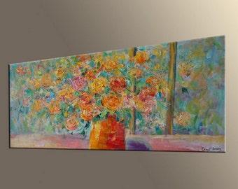 Abstract Canvas Art, Abstract Art, Modern Painting, Large Abstract Art, Modern Wall Art, Original Abstract Art, Flower Art, Bedroom Wall Art