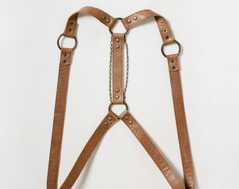 "Tan leather body harness ""Short Story"", leather harness women, leather harness belt"