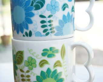 Vintage Stacking Cups with Blue and Green Flowers, heart shaped handles, see description for gift ideas