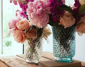 Hurricane Vase Perfect Wedding Centerpiece | Honeycomb Vase | Hurricane Candle Holders | Hurricane Glass Vase | Wedding Vase