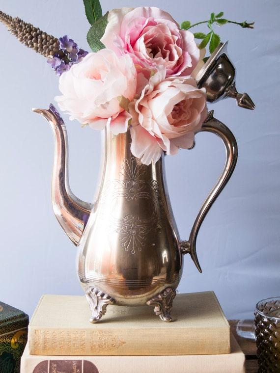 Vintage silver teapot centerpiece wedding