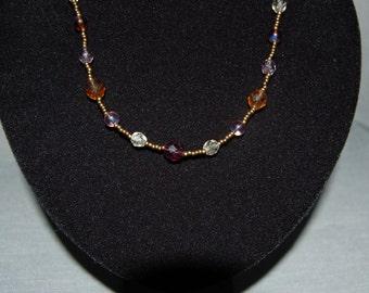 Amethyst Harvest beaded necklace ~ Handmade Vintage