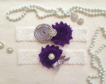 wedding garter set, purple/gray bridal garter set, purple chiffon flower, gray rolled rosette and bow, pearl/rhinestone