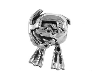 Scuba Diver Wiggling Movable Large Hole Sterling Silver Bead - Compatible with ALL Popular Bracelet Brands - Made in the USA! - Item #13334