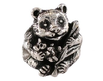 Panda Bear with Baby Large Hole Sterling Silver Bead - Compatible with ALL Popular Bracelet Brands - Made in the USA! - Item #13281